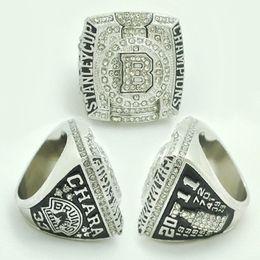 Klassen-Sport-Schmuck Boston Bruins Stanley Cup-Meisterschafts-Ring 2011, silberner überzogener Ehering-Band-Ring des Mannes von Fabrikanten