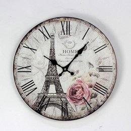 Wholesale Vintage Style Wall Clocks - Rose Eiffel Town Paiting Wood Clock Cafe Bar Home Decorative Digital Wall Clock Vintage Style