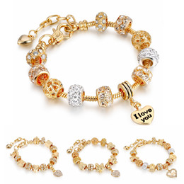 Wholesale Eiffel Bracelet - 2017 New Light Gold Heart Charm Bracelets With Eiffel Tower Crown Bangles DIY Crystal Beads For Women Jewelry
