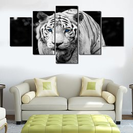 Wholesale Cheap Large Canvas Oil Painting - Unframed 5 Pcs High Quality Cheap White Tiger Art Pictures Large HD Modern Home Wall Decor Abstract Canvas Print Oil Painting