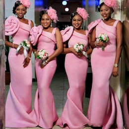 Wholesale One Hand Wedding Dresses - African Pink Mermaid Bridesmaid Dresses Long One Shoulder Handmade Flowers Wedding Guest Dress Count Train Vestidos Festa Party Gowns