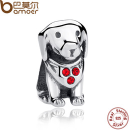 Wholesale Making Baby Bracelets - Wholesale-BAMOER 925 Sterling Silver Dog Animal Beads Charms With Red Ruby for DIY Bracelet Jewelry Making Baby Gift SCC016