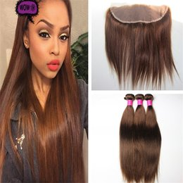 Wholesale Chocolate Brown Brazilian Hair - Color #4 Medium Brown Straight Virgin Hair Bundles With Lace Frontal Closure Chocolate Brown Brazilian Human Hair Weaves With Lace Frontal