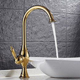 Wholesale Gold Basin Faucet - Wholesale And Retail Gold Polished Single Lever Countertop Basin Sink Faucet 1 Handle Hole Mixer Tap Bathroom HS413