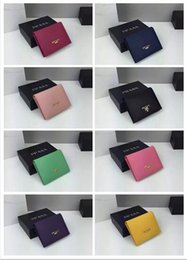 Wholesale Cross Stitch Photos - 2017 Best quality high-end brand wallet fashion mini wallet import Genuine Leather cross stitch pocket card bag with box