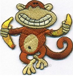 Wholesale Sewn Cartoon Monkey - Curious Geoge Crazy dancing Monkey with Banana Mogli Junglebook cartoon children Embroidered SEW ON IRON ON Patch Wholesale