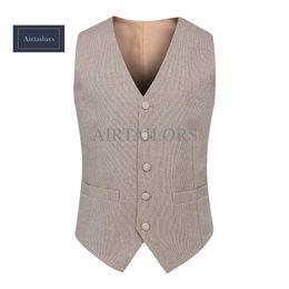 Wholesale Vintage Slim Fit Blazers Men - 2018 Vintage Champange tweed Vests Wool Donegal British style Mens suit tailor slim fit Blazer wedding suits for men