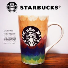 Wholesale Ceramic Coffee Mugs Spoons - New Korean style Starbucks colorful rainbow coffee cup 12OZ ceramics mug with lid spoon free shipping