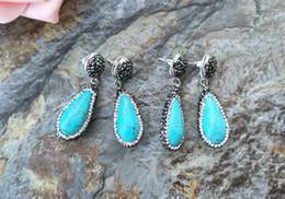 2019 orecchini turchesi fatti a mano Orecchini di pietra naturale turchese, con pavé di cristallo strass perline charms ciondola orecchino gioielli fatti a mano per le donne ER173 orecchini turchesi fatti a mano economici