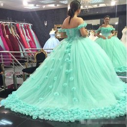 Wholesale Elegant Sweetheart Flowers Beaded Lace - Elegant Mint Green Quinceanera Dresses 2017 Sweetheart backless ball gown hand made flowers prom dress Sweet 16 Dress