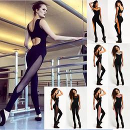 Wholesale Hot Sexy Women Sport Wear - Hot Women Net Yarn Splicing Sports Yoga Pants Sexy Elasticity Rompers Hanging Halter Fitness Wear ZC2000
