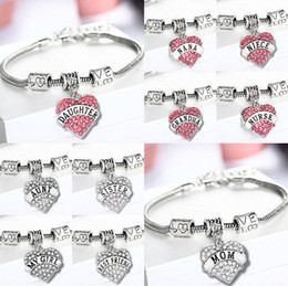 Wholesale Sterling Silver Best Charms - Diamond Love Heart Bracelet Bangle Crystal family member Mom Daughter Grandma Teacher Believe Faith Hope best friend for women 45 types