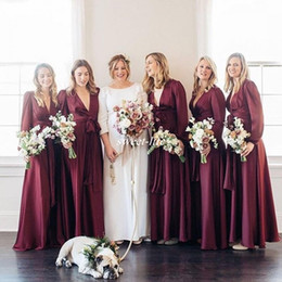 Wholesale Long Sleeve Silk Wedding Gowns - Elegant Long Sleeve Bridesmaid Dresses V-Neck Sash 2017 Boho A-Line Plus Size Country Wedding Guest Formal Dress Burgundy Maid of Honor Gown