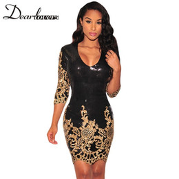 Wholesale Printed Sequin Dress - Dear lover Women Party Dress Winter 2016 Black Gold Sequin Bodycon Dress Sexy V-Neck 3 4 Sleeves Sheath Club Mini Dress