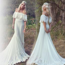 Wholesale Beautiful Bohemian Gown - Country Bohemian Wedding Dress Boho Hot Sale Off the Shoulder Lace Bridal Gown Beach Beautiful robe de mariage 2017 Dresses