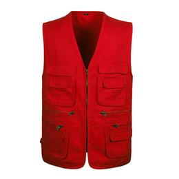 Wholesale Photographers Photography - Wholesale- L-4XL Red Photography Vest With Many Pockets Men Sleeveless Jacket Black Army Green Khaki Photographer Mens Work Vests Brand