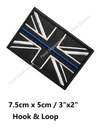 "Wholesale Union Jack Blue - 3"" Great Britain Thin Blue Union Jack Patches Navy ARMY MILITARY MORALE TACTICAL Hook & Loop Embroidered MILSPEC"