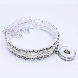 Wholesale Snap Boy - 3 row Shiny Rhinestone Elastic 156 Bangle Stretch Crystal 18mm Snap Button Bangle Bracelet Fit Party Prom Wedding Bride Jewelry