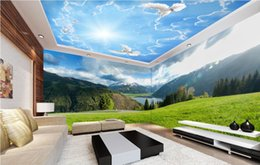 Wholesale lake landscapes paintings - custom 3d wallpaper ceiling Snowland plateau green grassland lake landscape paint 3d ceiling wallpapers for living room stretch ceiling film
