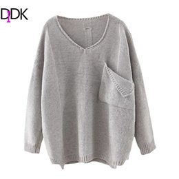 Wholesale Acrylic Dip - Wholesale- DIDK Casual Pullovers For Ladies Women Autumn Plain V Neck Long Sleeve Ripped Dip Hem Loose Sweater With Pocket
