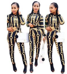 Wholesale Tight Chain - 2017 New Women Clothes Sets Fashion classic chain printing Tight Retro Two-piece Sets Long-sleeved T-shirt+ Pants