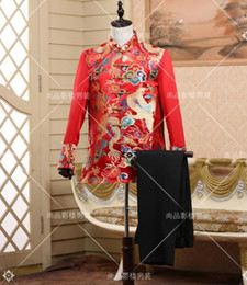 Wholesale Toast Suits - Wholesale- The groom's wedding toast dress red wedding dress half dragon tang suit costumes Chinese style men's clothing stage costumes