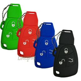 Wholesale mercedes clk - Rubber 3 Buttons Smart Key Fob Remote Cover Case Keyless Holder Wallet for Mercedes benz Class A C E S ML CLK SLK C200 E320 350 CLS