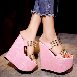 Wholesale Sexy Club Heels - Princess sexy slope with 17cm spring and summer stage high heel platform sandals shoes muffin Club
