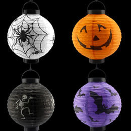 Wholesale Halloween Pumpkin Lantern - Light Up Halloween pumpkin outdoor solar lantern lamps waterproof 10in 8in 6in white RGB Color chinese lanterns Hallowmas paper lantern