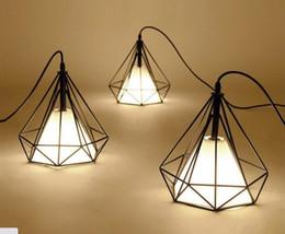 Wholesale Vintage Bird Lamp - Vintage Chandelier Industrial Ceiling Light Bird Cage Pendant Lighting Art Diamond Pyramid Pendant Lamps for Kitchen Dining Room Bar Hallway