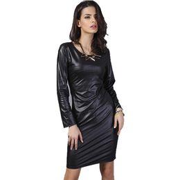 Wholesale Leather Midi Dresses - Summer Dress 2016 New Arrival Woman Fashion Faux Leather Dress Long Sleeve Above Knee Mini Sexy Black Bodycon Midi Women Dresses