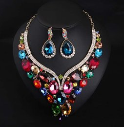 Wholesale Evening Earrings Crystal - Fashion Evening Party Bridal Jewelry Set Luxury Gold Plated Swarovski Crystal Stud Earrings Necklace Sets Statement Necklace For Women