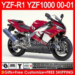 2019 99 yzf r1 carenados Carrocería para YAMAHA YZF1000 YZF 1000 YZFR1 00 01 98 99 74NO31 Rojo de fábrica R 1 YZF-R1000 Carrocería YZF-R1 YZF R1 2000 2001 1998 1999 Kit de carenado 99 yzf r1 carenados baratos