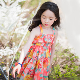 Wholesale Vintage Floral Sundresses - Everweekend Girls Floral Suspend Sundress Overall Dress Western Vintage Cute Children Summer Cotton Dress Candy Color Clothing