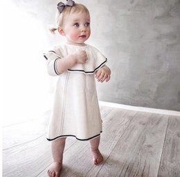 Wholesale Toddler Straight Dresses - INS Toddler kids dress 2017 new Autumn baby girls big lapel knitting sweater dresses infants seven-minute sleeves dress kids clothes C1114
