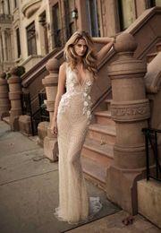 Wholesale Wedding Dress Embellishments - elegant sexy sheath wedding dresses 2017 berta bridal sleeveless deep v neckline full embellishment low back sweep train