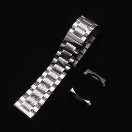 Wholesale 21mm Strap - Watchbands 14mm 15mm 16mm 17mm 18mm 19mm 20mm 21mm 22mm Silver stainless steel with curved ends straight end special watches strap bracelets