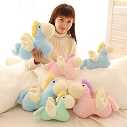 Wholesale Baby Pony Doll - 2017 Hot Sale Macaron Color Cartoon Stuffed Animal Angel Pony Little Horse Doll Baby Children Child Plush Toys Sleeping Doll Gifts