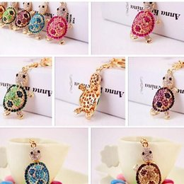 Wholesale Tortoise Ring Gold - High quality cute Trinket Gold-color Rhinestone Tortoise Keychains key rings tool good selling factory price wholesale