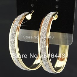 Wholesale Gold Guarantee - Freeshipping Guaranteed 100% Charms 6Pairs Fashion Gold P Frosted Hoop Earrings for Women Wholesale Jewelry Lots A-669