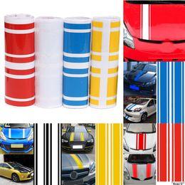 Wholesale Vinyl Hood Decal - Wholesale- 183 x 17.2cm Car-Styling 3D Car Hood Side Vinyl Stripe Sticker Body Bumper Decal Engine Cover Pinstripe 5 Colors