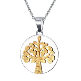 Wholesale White Wishing Trees - Wish Tree Family Tree Silver and Gold Tree of Life Necklace in Stainless Steel PN-612