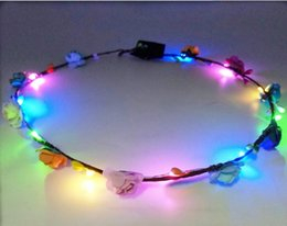 cabelo da estação da flor Desconto LED cocar grinalda de noiva LED grinalda de noiva decorações de cabelo resort de praia