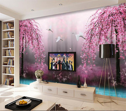 Wholesale Peach Flower Wallpaper - Natural red peach flower mural for sofa background wall 3d bedroom bed 3d mural wallpaper 3d wall photo mural