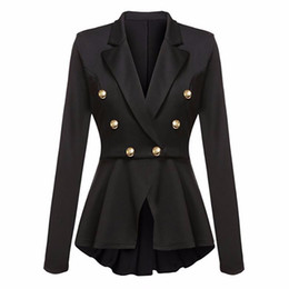 Wholesale Office Ladies Suits Shirts - chesmono women jackets chic black button long sleeve suit blazer ladies feminino 2017 Autumn office outwear shirt blazer mujer