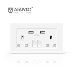 Wholesale Double Outlet - AIAWISS 13A 250V Double USB Port Wall Socket Power Charger Adapter Outlet Panel UK Plug GM,White