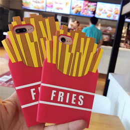 Wholesale Food Cells - Luxury Fast Food French Fries 3D Case Cover For iphone 8 6 6S 7 Plus soft Silicone Back Cover Cell Phone Cases Opp Bag