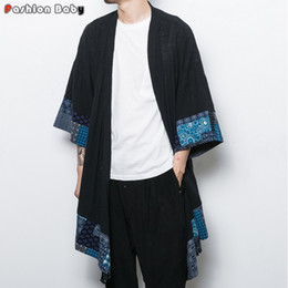 Wholesale Men Long Trench Coat Patterns - Wholesale- Chinese Style Flower Cotton Linen Trench Cloak Men's Fashion Long Cardigan Coat Loose Geometry Cape 2016 Autumn New