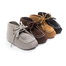 Wholesale Wholesale Lace Booties - Wholesale- Hot Grey Unisex Cute Lace-up Newborn Baby Moccsains Kids First Walkers Shoes Infant Babe Soft Soled Anti-slip Handsome Booties