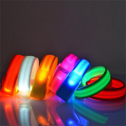 Wholesale Led Arm Light Band - LED Flashing Wrist Band Bracelet Arm Band Belt Light Up Dance Party Glow For Party Decoration Gift